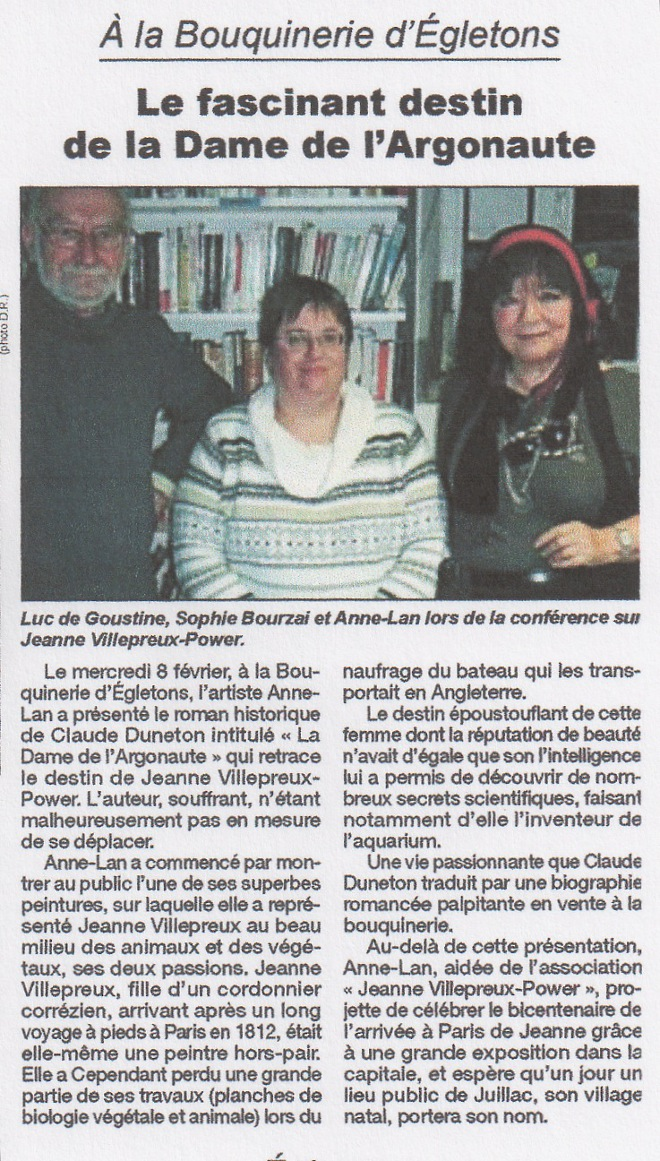 Article journal la bouquinerie Egletons